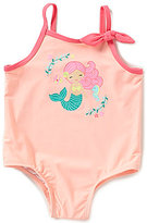 Starting Out Baby Girls 12-24 Months Mermaid Embroidered One-Piece Swimsuit