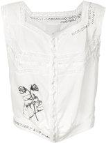 Maison Margiela boxy lace trim blouse - women - Cotton - 38