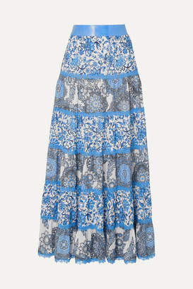 Alice + Olivia Alice Olivia - Satin And Lace-trimmed Floral-print Crepe De Chine Maxi Skirt - Blue