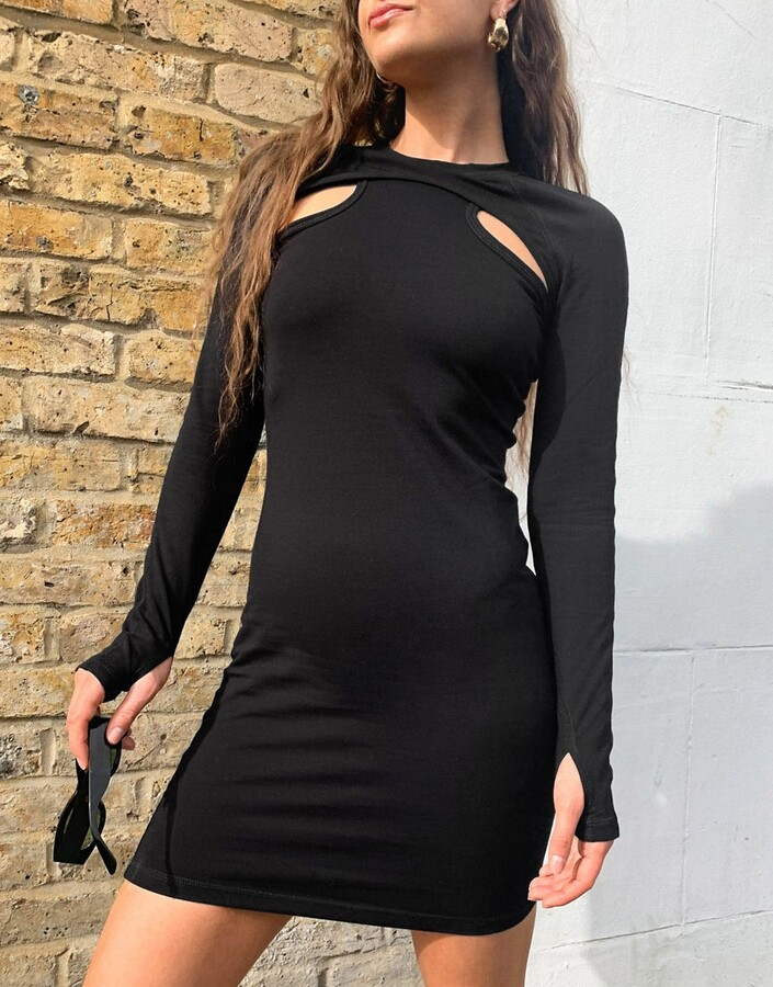 Thumbnail for your product : Weekday Shirin organic cotton mini dress with cut out detail in black