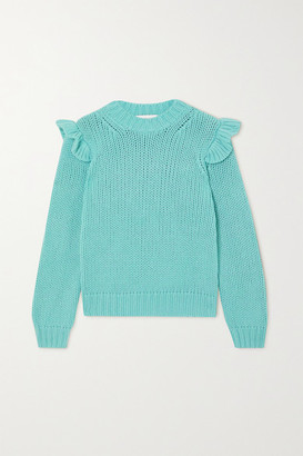 Zimmermann Ladybeetle Ruffled Merino Wool Sweater - Blue