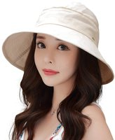 Siggi Womens UPF50+ Linen/Cotton Summer Sunhat Bucket Packable Foldable Wide Brim Hats w/ Chin Cord Navy