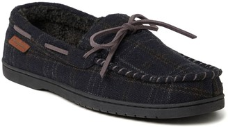 Dearfoams Men's Whipstitch Trim Microsuede Moccasin Slippers