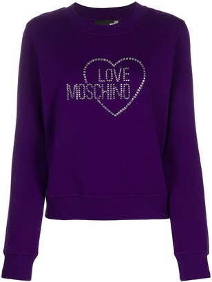 Love Moschino Studded Logo Rib-Trimmed Sweatshirt