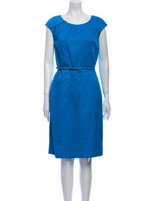 Oscar de la Renta Scoop Neck Knee-Length Dress w/ Tags Blue
