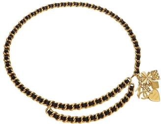 Chanel Gold & Black Leather Lucky Charms Chain Belt