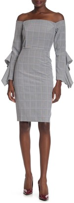 Adelyn Rae Celeste Plaid Woven Off-the-Shoulder Dress