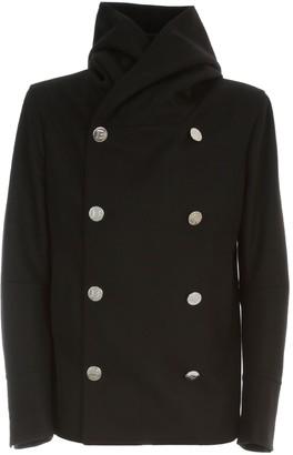 Balmain Hooded Wool Pea Coat