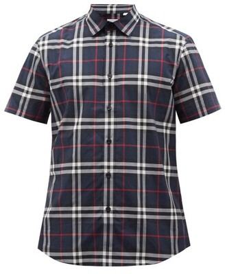 Burberry Caxton Short-sleeved Checked Cotton-poplin Shirt - Blue