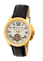 Heritor Automatic Franklin Mens Semi-Skeleton Leather-Gold/Silver Watches