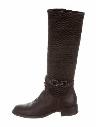 Aquatalia Leather Printed Riding Boots Brown