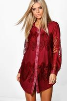 Boohoo Milly Lace Panelled Shirt Dress
