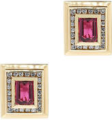 One Kings Lane Vintage Yellow Gold Diamond/Tourmaline Earrings