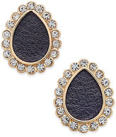 Thalia Sodi Gold-Tone Jet Faux-Leather Crystal Teardrop Stud Earrings, Only at Macy's