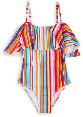 MC2 Saint Barth Striped Frill Swimsuit (4-14 Years)