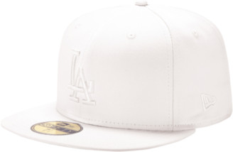 New Era MLB 59Fifty White On White Cap - Los Angeles Dodgers