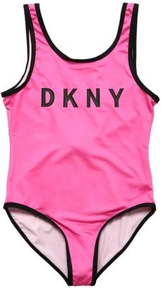 DKNY Logo Print Lycra One Piece Swimsuit