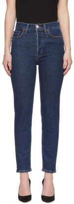 RE/DONE Blue High-Rise Ankle Crop Jeans