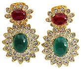 Kenneth Jay Lane Goldtone Green Red Cabochon Crystal Drop Clip On Earrings 1137ERE
