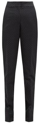 Erdem Emanuelle Polka Dot Jacquard Cotton Blend Trousers - Womens - Black White
