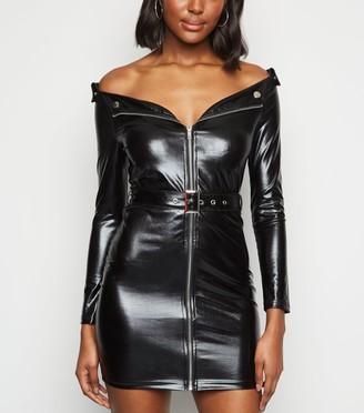 New Look Parisian Leather-Look Biker Bodycon Dress