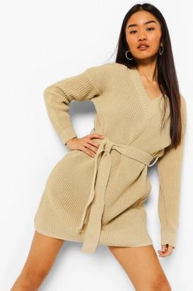 boohoo Petite Belted V-Neck Sweater Dress
