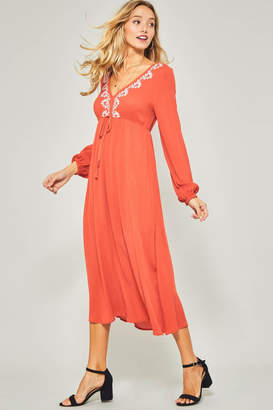Promesa Embroidered long sleeve maxi dress