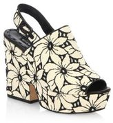 Alice + Olivia Charlize Floral Lacquered Cork Heel Suede Sandals