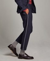 Todd Snyder Navy Pintuck Trouser with White Pinstripe
