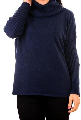 Black Navy Cashmere Sleeved Poncho Sweater with Snood