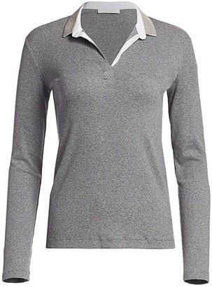 Fabiana Filippi Brilliant-Trim Long-Sleeve Polo Top