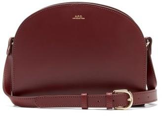 A.P.C. Half Moon Leather Cross-body Bag - Womens - Burgundy