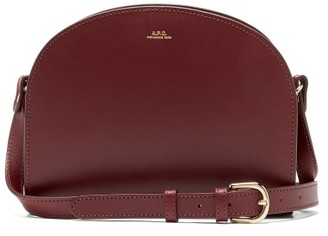 A.P.C. Half Moon Smooth-leather Cross-body Bag - Burgundy