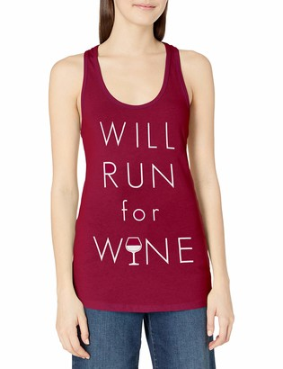 Chin Up Chin-Up Women's Will Run for Wine Ideal Racerback Graphic Tank Top