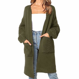 Dylung Womens Cardigans Women Cardigan Long Sleeve Dylung Womens Boho Open Front Cardigan Long Sleeve Loose Knit Lightweight Sweaters with Pockets Army Green