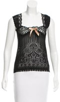 Anna Sui Lace-Trimmed Open Knit Top