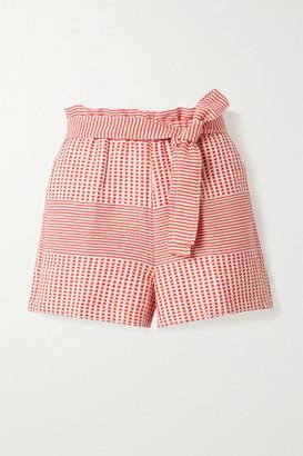 Lemlem Semira Belted Cotton-gauze Shorts - Coral