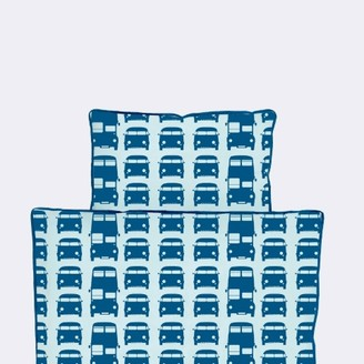 ferm LIVING Blue Rush Hour Single Bed Duvet Set - organic cotton | blue - Blue/Blue