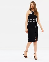 Karen Millen Monochrome Lace-Trim Pencil Dress
