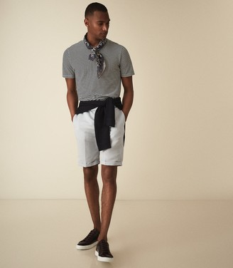 Reiss Cash - Linen Blend Tailored Shorts in Soft Blue