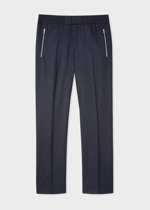 Men's Navy Wool Flannel Drawstring Trousers