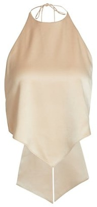 Alice + Olivia Frenchie Handkerchief Satin Halter Top