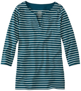L.L. Bean Women's Pima Cotton Tunic, Three-Quarter-Sleeve Splitneck Stripe