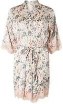 Dorothy Perkins Pink Floral Satin Kimono Style Dressing Gown