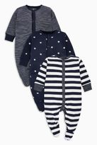 Next Boys Navy/White Stripe And Star Print Sleepsuits Three Pack (0mths-2yrs)