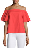 Alice + Olivia Christy Off-the-Shoulder Poplin Top, Bright Red
