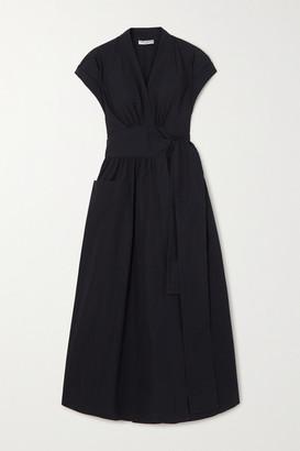 Three Graces London Clarissa Cotton-poplin Wrap Midi Dress - Black