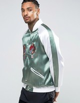 Hype Embroidered Souvenir Bomber Jacket With Koi Back Print