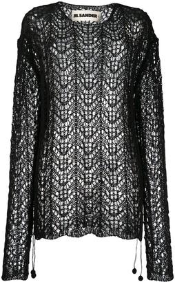 Jil Sander Black Crochet Sweater