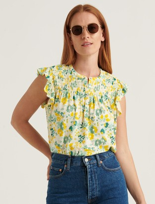 Lucky Brand Printed Smocked Sleeveless Top